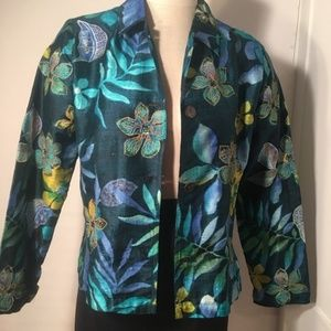 Chico's Silk Floral Embroidery Button Cardigan